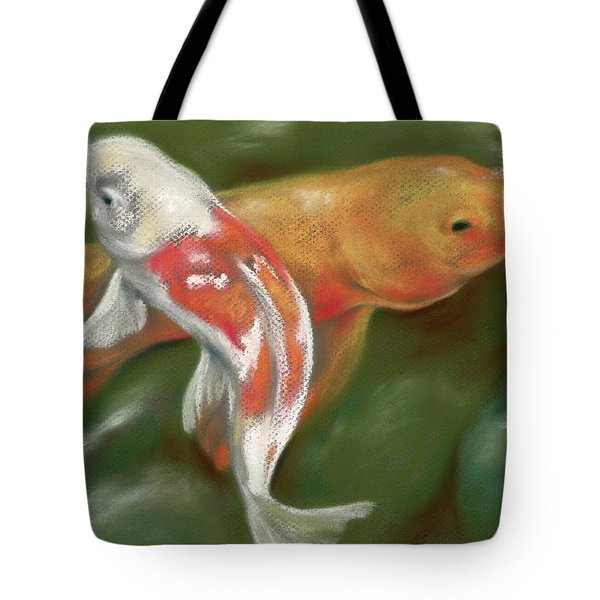 Orange And White Koi With Mossy Stones Tote Bag