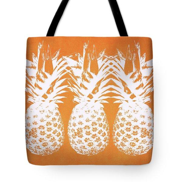 Orange And White Pineapples- Art By Linda Woods Tote Bag