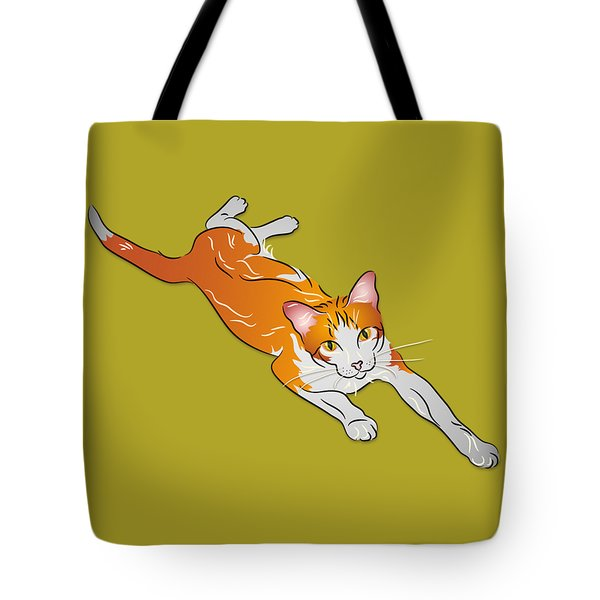 Tote Bag featuring the digital art Orange And White Tabby Cat by MM Anderson