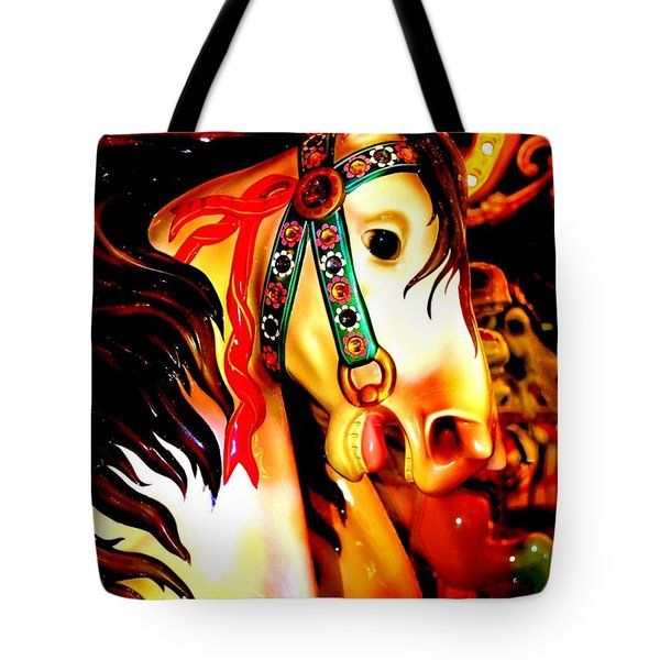 Orange And Yellow Carousel Horse Tote Bag