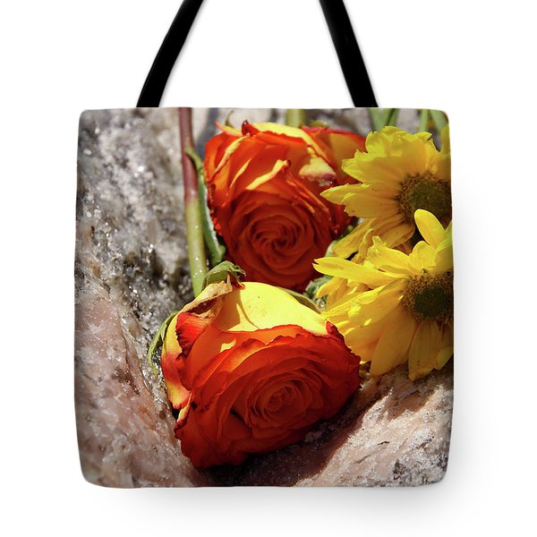 Orange And Yellow On Pink Granite Tote Bag