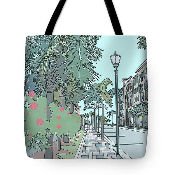Tote Bag featuring the digital art Orange Avenue by Megan Dirsa-DuBois