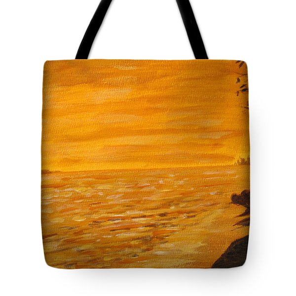 Tote Bag featuring the painting Orange Beach by Ian  MacDonald