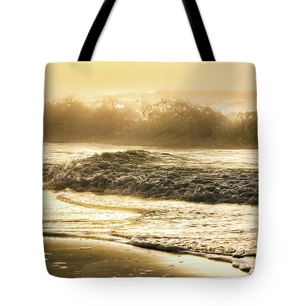 Tote Bag featuring the photograph Orange Beach Sunrise With Wave by John McGraw