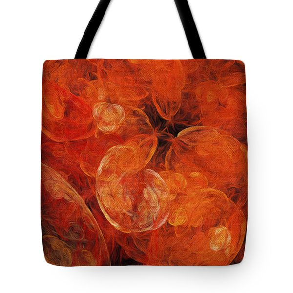 Tote Bag featuring the digital art Orange Blossom Abstract by Andee Design