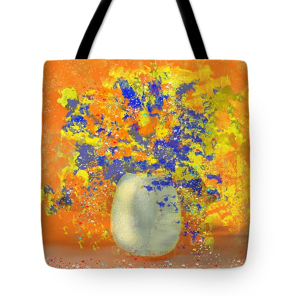 Orange, Blue, And Gold Sparkling Bouquet Tote Bag