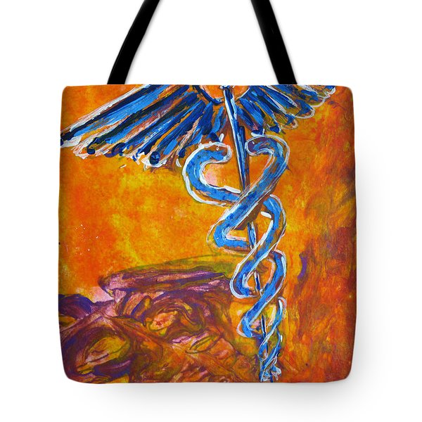 Orange Blue Purple Medical Caduceus Thats Atmospheric And Rising With Mystery Tote Bag by M Zimmerman