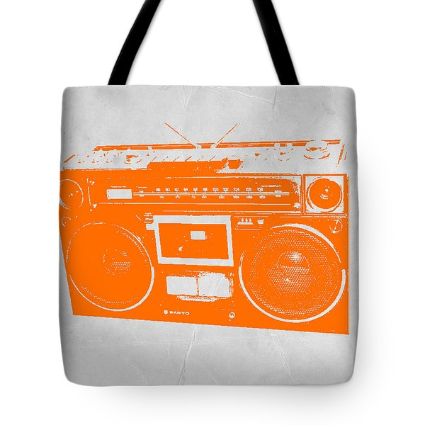 Orange Boombox Tote Bag by Naxart Studio