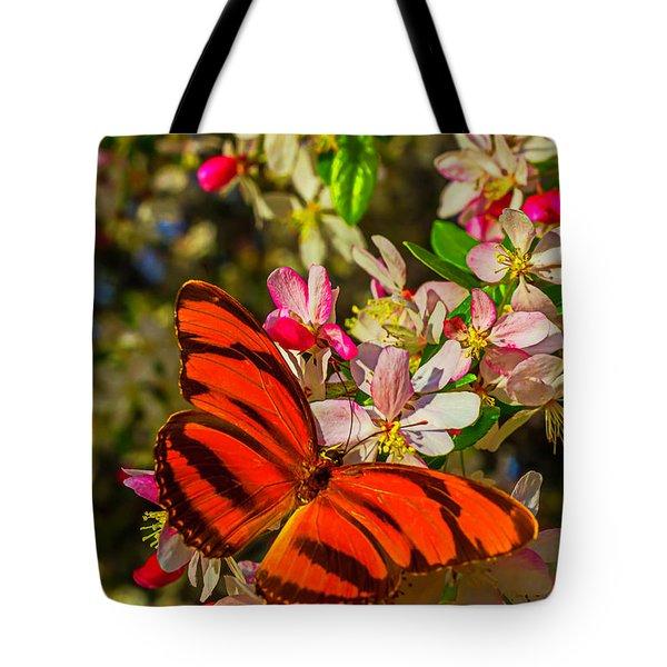 Orange Butterfly On Flowering Tree Tote Bag