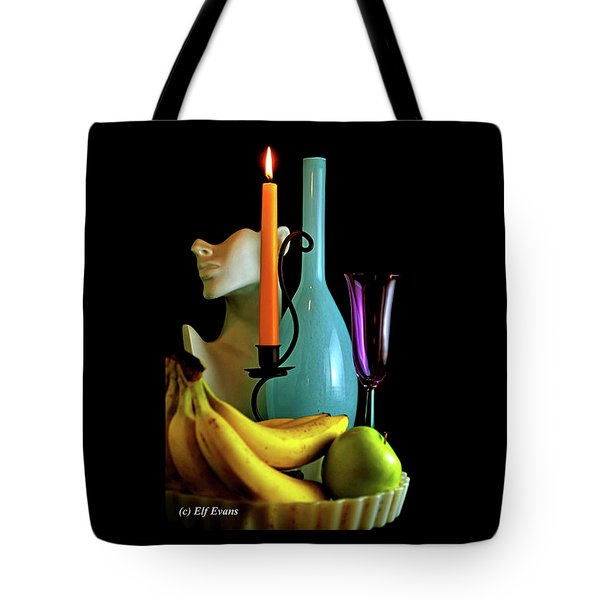 Orange Candle And Blue Bottle Tote Bag
