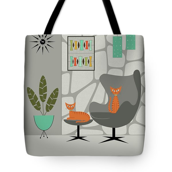 Tote Bag featuring the digital art Orange Cat In Gray Stone Wall by Donna Mibus