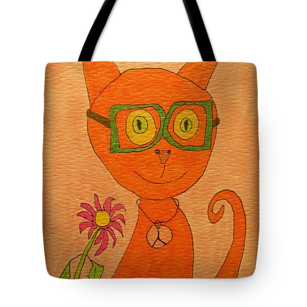 Orange Cat With Glasses Tote Bag