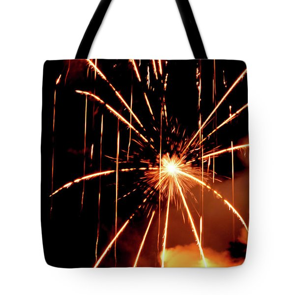 Orange Chetola Fireworks Tote Bag by Meta Gatschenberger
