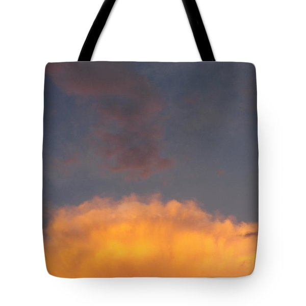 Orange Cloud With Grey Puffs Tote Bag