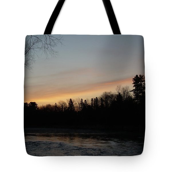 Tote Bag featuring the photograph Orange Clouds Mississippi River Dawn by Kent Lorentzen