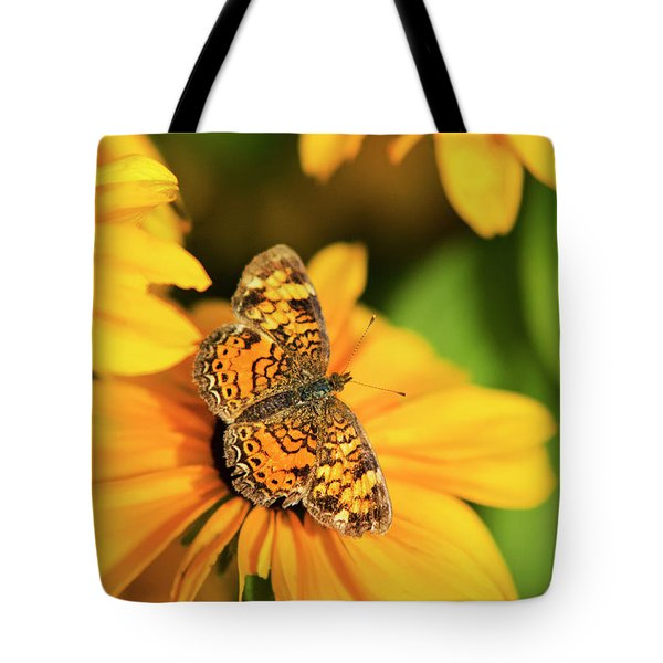 Tote Bag featuring the photograph Orange Crescent Butterfly by Christina Rollo