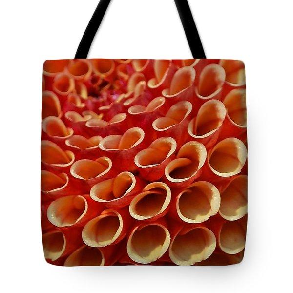 Orange Dahlia Crush Tote Bag
