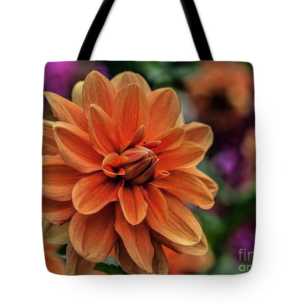 Orange Dahlias Tote Bag