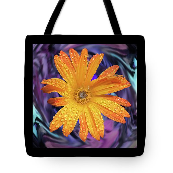 Orange Daisy Swirl Tote Bag