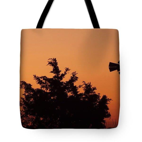Orange Dawn With Windmill Tote Bag