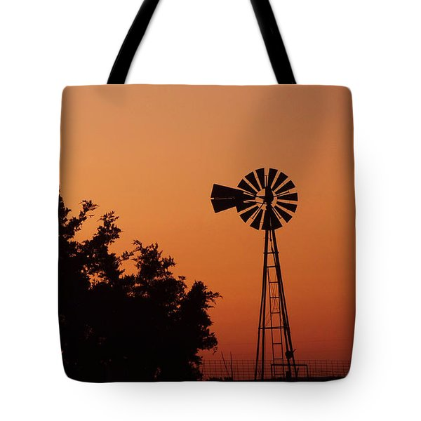 Orange Dawn With Windmill Tote Bag