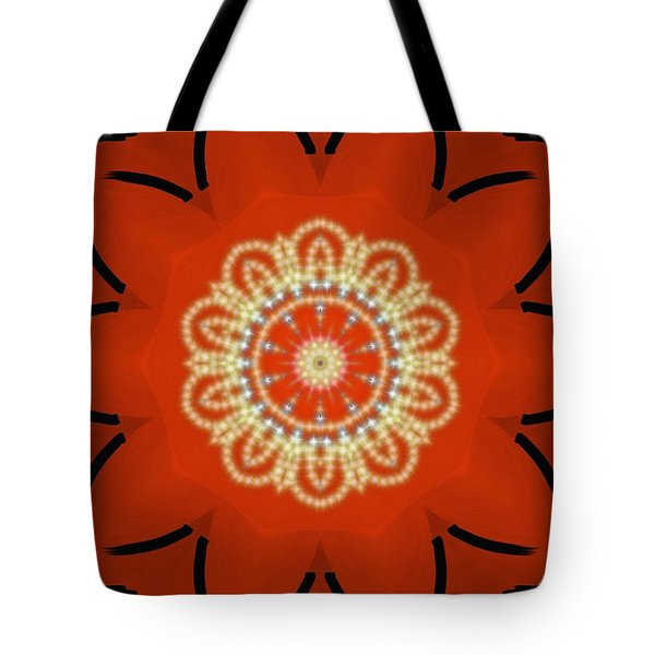 Tote Bag featuring the painting Orange Desert Flower Kaleidoscope by Roxy Riou