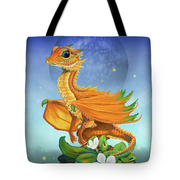 Tote Bag featuring the digital art Orange Dragon by Stanley Morrison