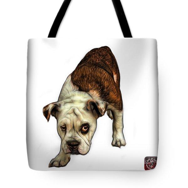 Tote Bag featuring the painting Orange English Bulldog Dog Art - 1368 - Wb by James Ahn