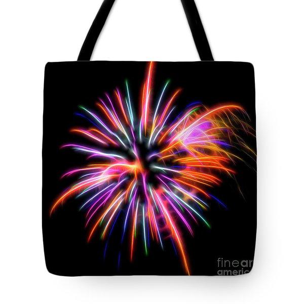 Tote Bag featuring the photograph Orange Fireworks by Yulia Kazansky
