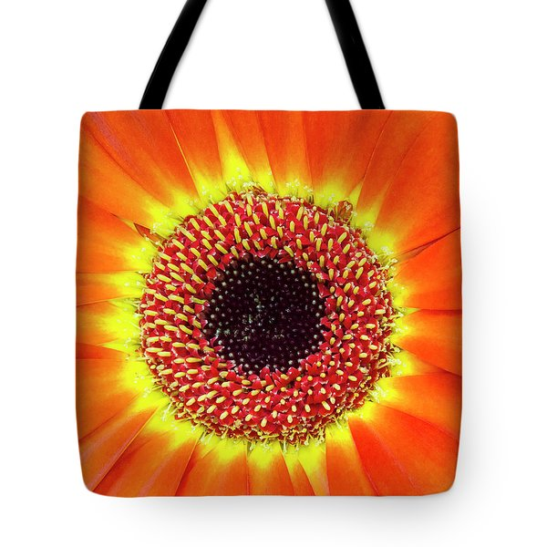Orange Flower Macro Tote Bag