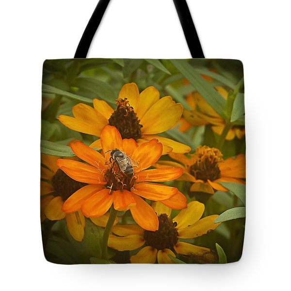 Orange Flowers And Bee Tote Bag