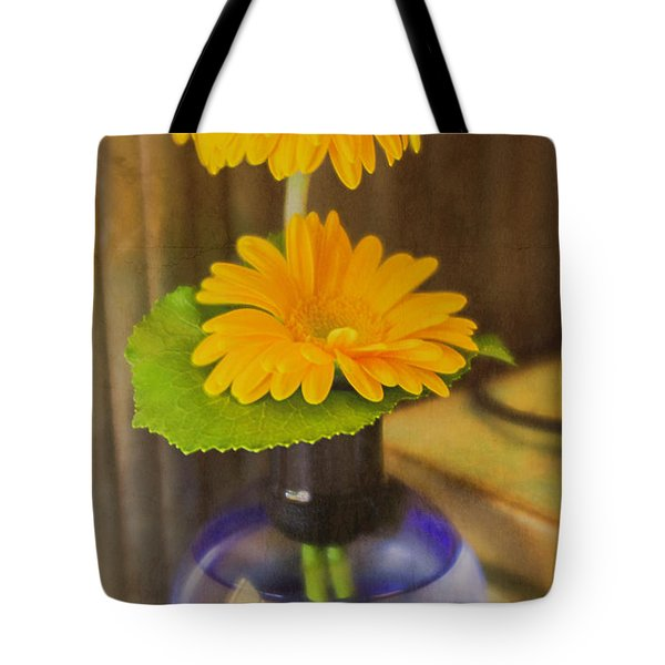 Orange Flowers Blue Vase Tote Bag