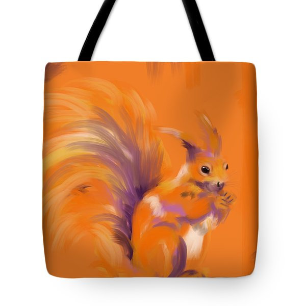 Tote Bag featuring the painting Orange Forest Squirrel by Go Van Kampen