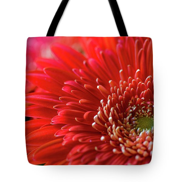 Tote Bag featuring the photograph Orange Gerbera by Clare Bambers
