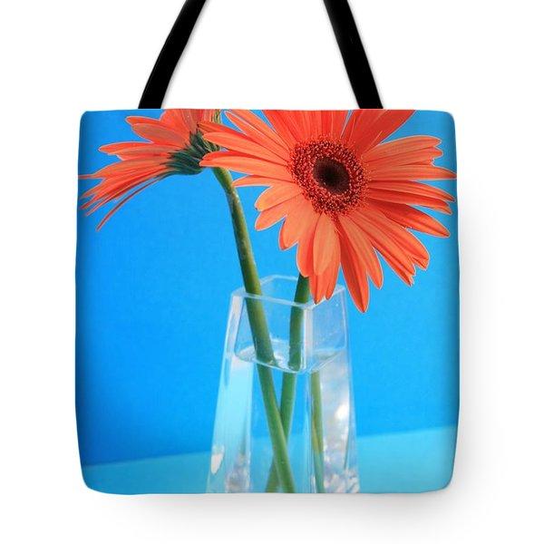 Orange Gerberas In A Vase - Aqua Background Tote Bag