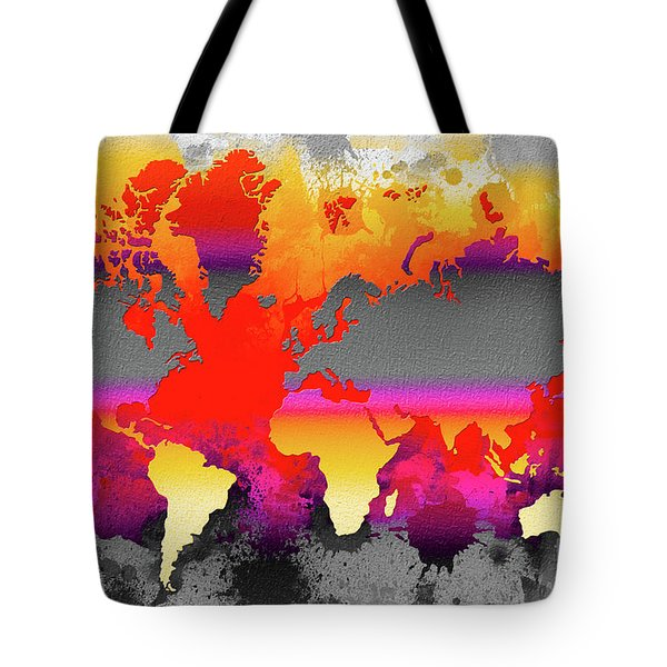 Orange Glow World Map Tote Bag