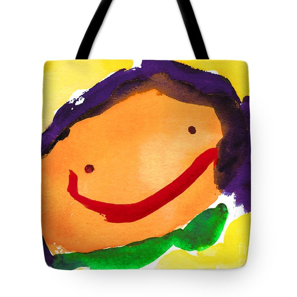 Orange Happy Face Tote Bag