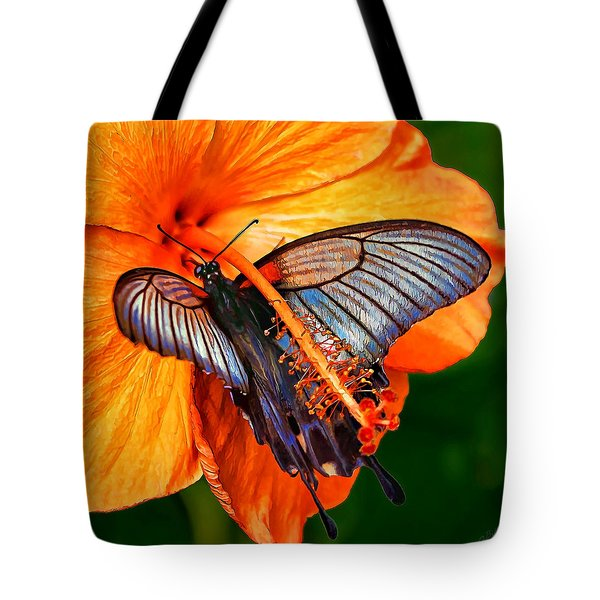 Orange Hibiscus Butterfly Tote Bag by ABeautifulSky Photography