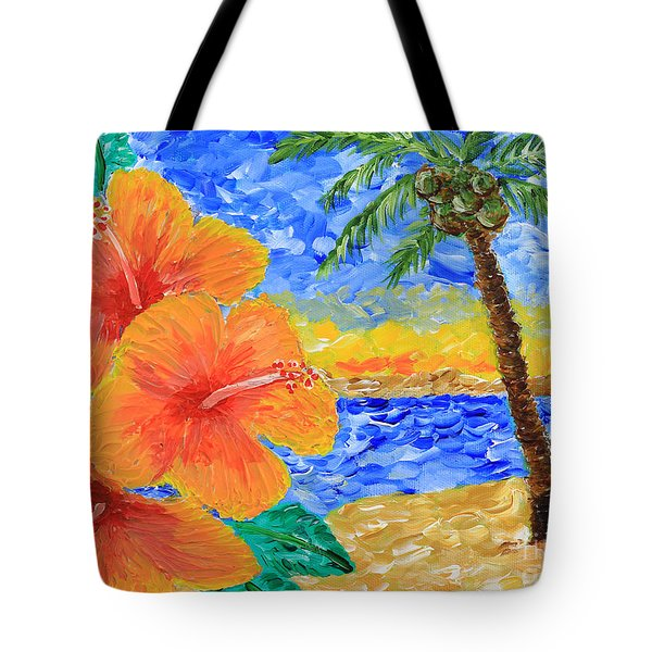 Orange Hibiscus Coconut Tree Sunrise Tropical Beach Painting Tote Bag