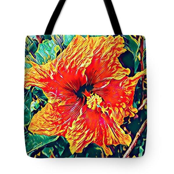 Orange Hibiscus In Crepe - Full View Tote Bag