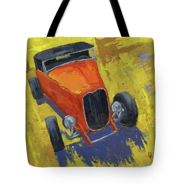 Orange Hot Rod Roadster Tote Bag