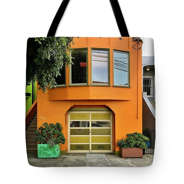 Orange House Tote Bag by Julie Gebhardt