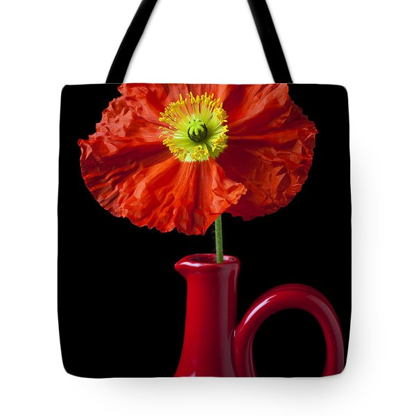 Orange Iceland Poppy In Red Pitcher Tote Bag by Garry Gay