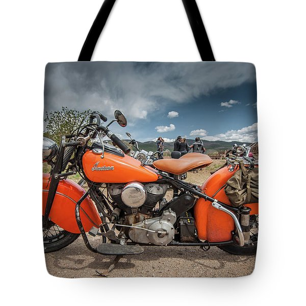 Orange Indian Motorcycle Tote Bag
