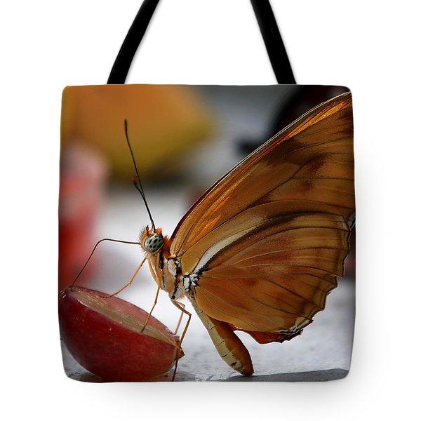 Orange Julia Butterfly Tote Bag