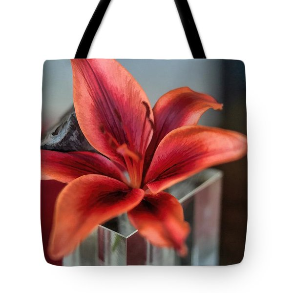 Tote Bag featuring the photograph Orange Lilly And Her Companion Abstract by Diana Mary Sharpton