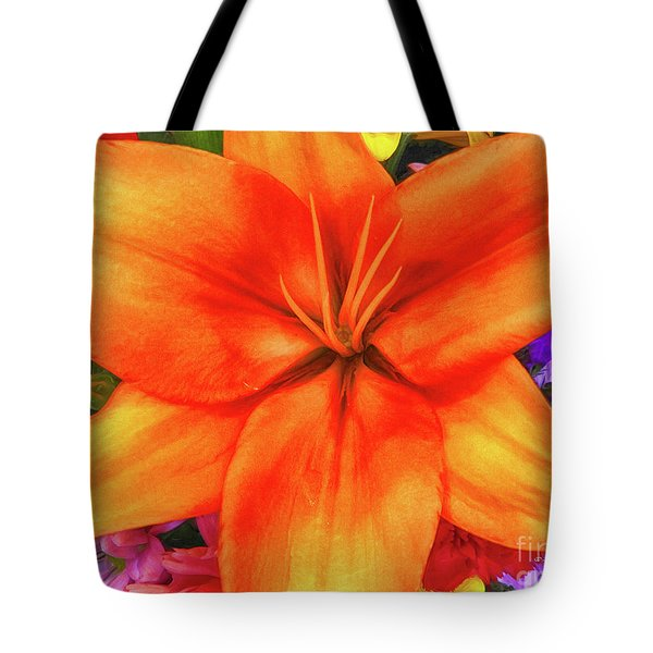 Tote Bag featuring the painting Orange Lilly Art by Deborah Benoit