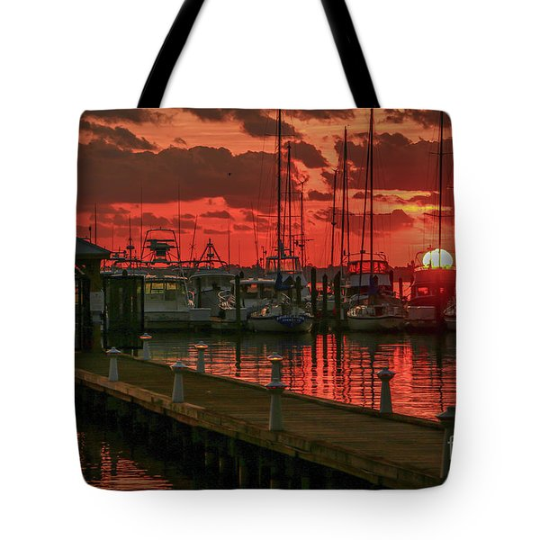 Orange Marina Sunrise Tote Bag