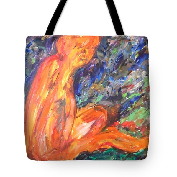 Tote Bag featuring the painting Orange Nymph by Esther Newman-Cohen