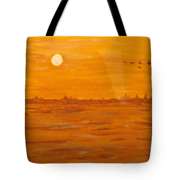 Tote Bag featuring the painting Orange Ocean by Ian  MacDonald